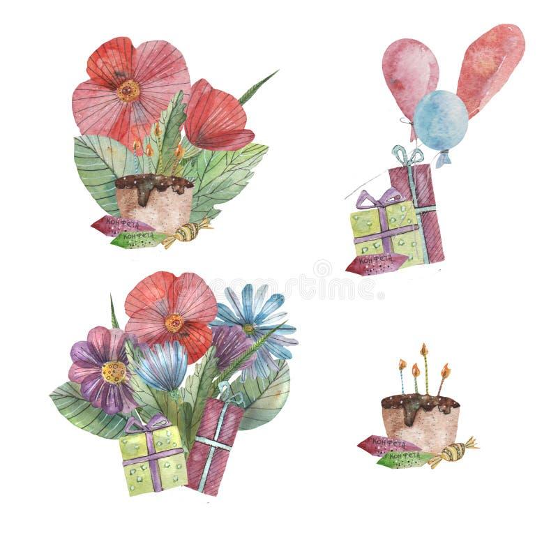 Compozition de vacances avec des fleurs, des cadeaux et des ballons illustration stock