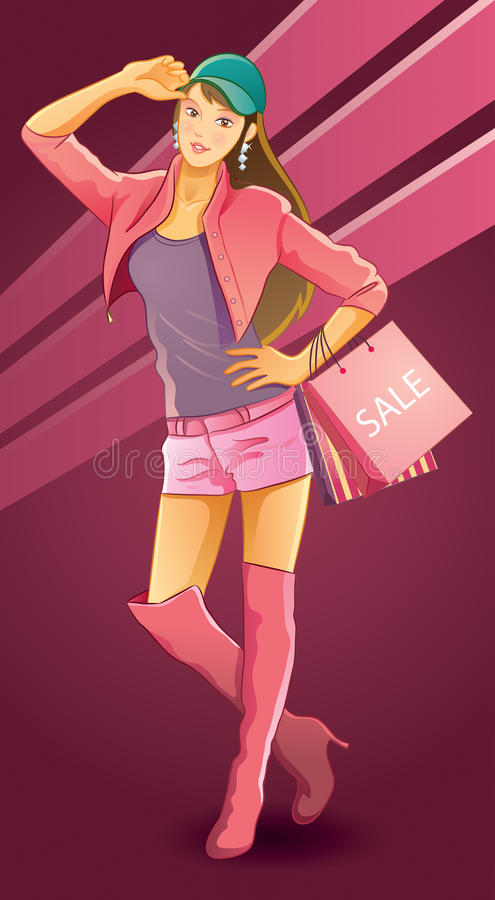 Compra bonita do amor da menina ilustração royalty free