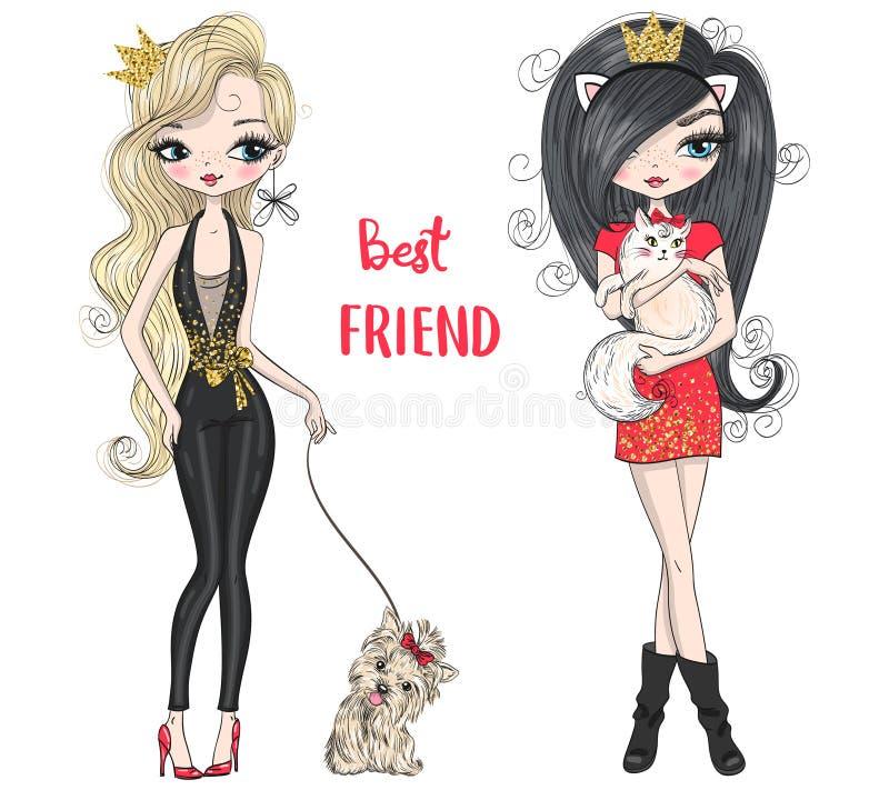 Compra bonito bonita tirada mão do poder de duas meninas da forma com pouco cão ilustração royalty free