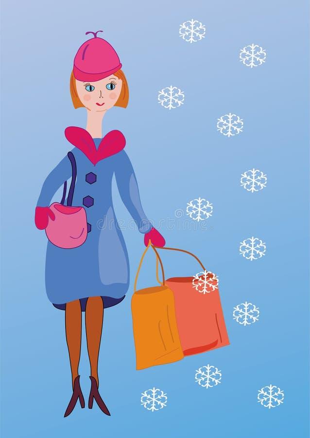 Compra bonito da menina na neve ilustração do vetor