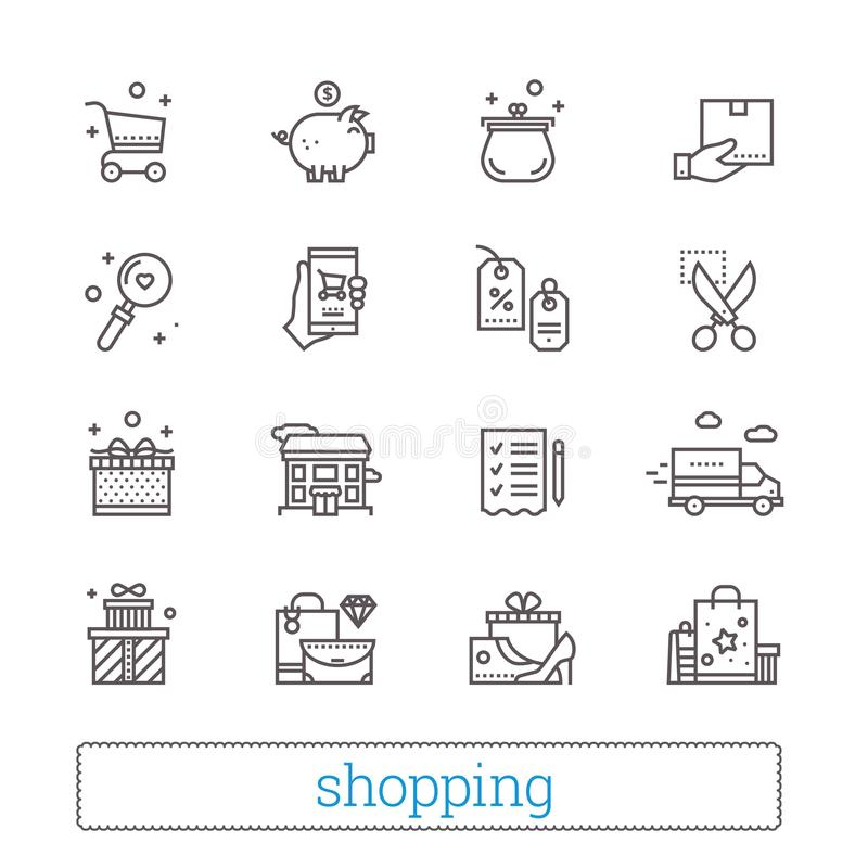 Compra, comércio, linha fina varejo ícones Símbolos da loja: vales, wishlist, trilha da entrega, parte traseira do dinheiro, bens ilustração stock
