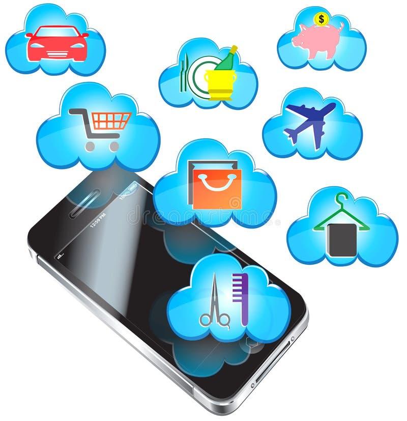 Compra Com Um IPhone Imagem de Stock Royalty Free