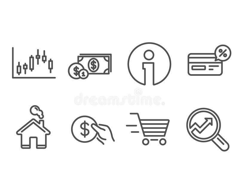 Compra da entrega, gráfico do castiçal e ícones de Cashback Dinheiro do pagamento, do dólar e sinais da analítica ilustração royalty free