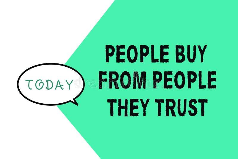 Compra da exibição do texto da escrita da palavra que mostra dos eles conceito do negócio de confiança para a confiança e a satis ilustração royalty free