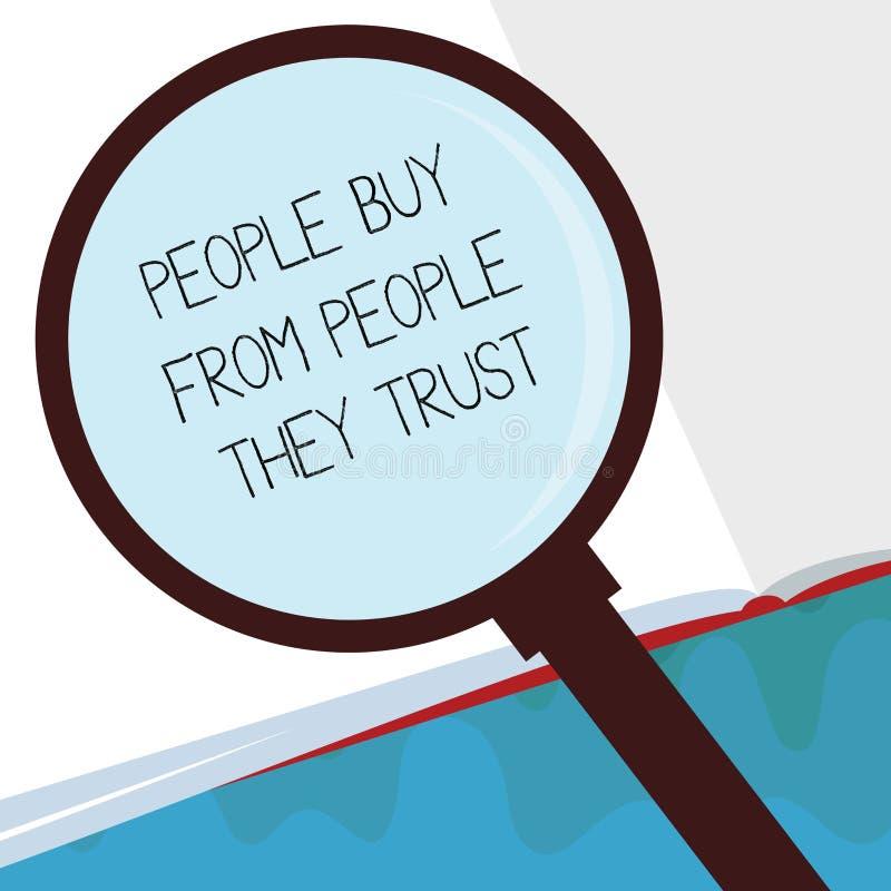 Compra da exibição do texto da escrita que mostra dos confiam a confiança e a satisfação do cliente da construção do significado  ilustração stock