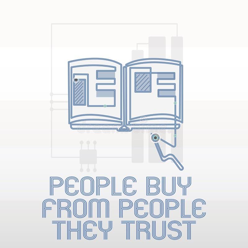 Compra da exibição da escrita do texto da escrita que mostra dos confiam a confiança e a satisfação do cliente da construção do s ilustração royalty free