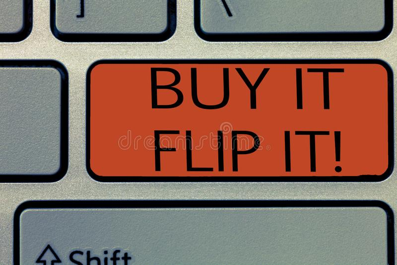 Compra da exibição da nota da escrita ele Flip It A compra apresentando da foto do negócio algo fixa-os acima de então vende-os p imagem de stock