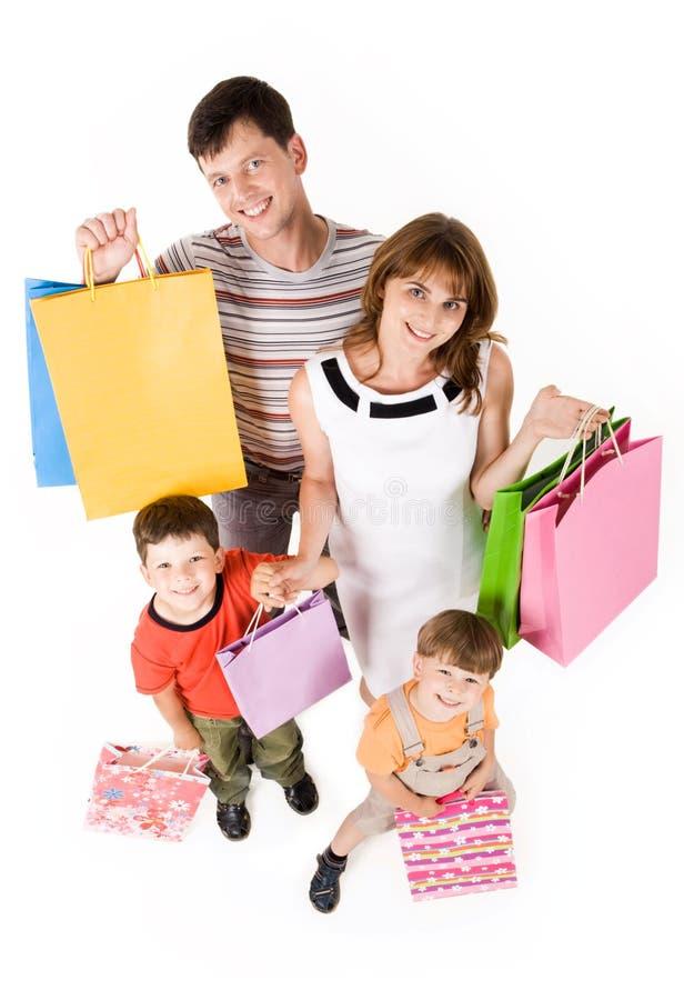 Compra da família imagem de stock