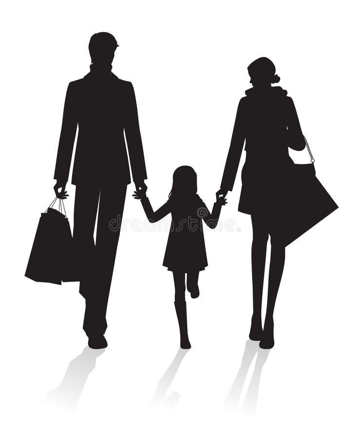 Compra da família ilustração do vetor