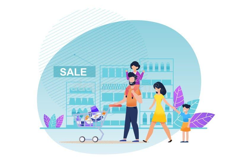 Compra da família dos desenhos animados no vetor liso do supermercado ilustração do vetor