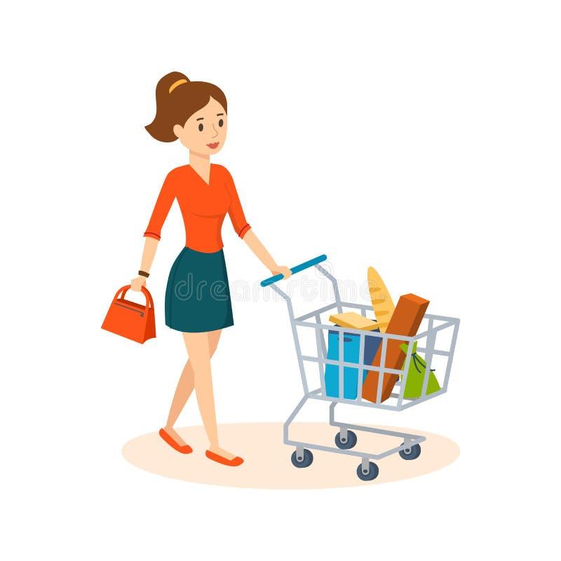 Compra da jovem mulher em uma mercearia, em produtos da cesta ilustração do vetor