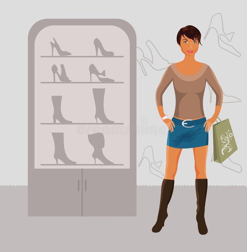 Compra da menina da forma na loja de sapata ilustração royalty free