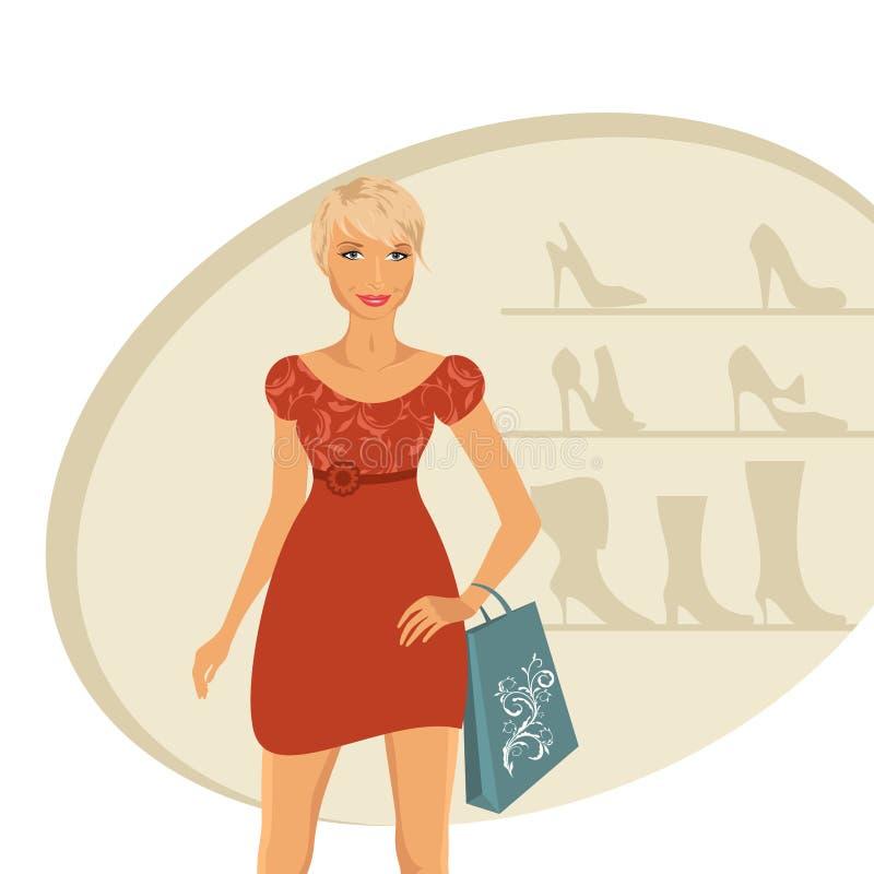 Compra da menina da forma na loja de sapata ilustração do vetor
