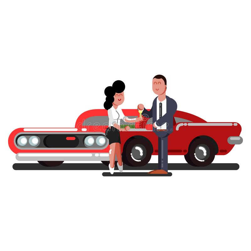 Compra da menina um carro ilustração royalty free