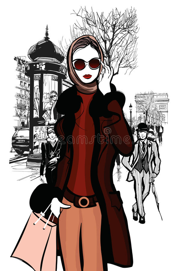 Compra da mulher em Champs-Elysees em Paris ilustração do vetor
