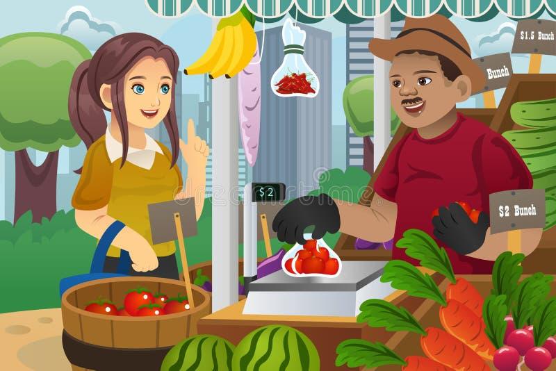 Compra da mulher em um mercado dos fazendeiros ilustração royalty free