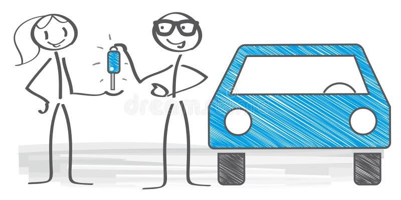 Compra da mulher um carro ilustração do vetor