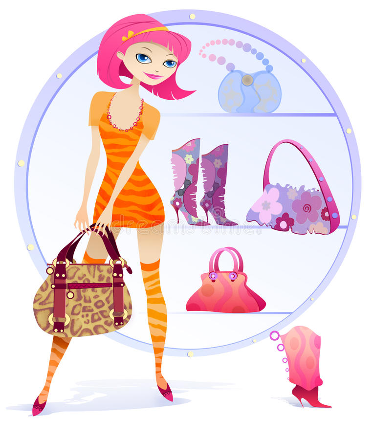 Compra da rapariga ilustração stock