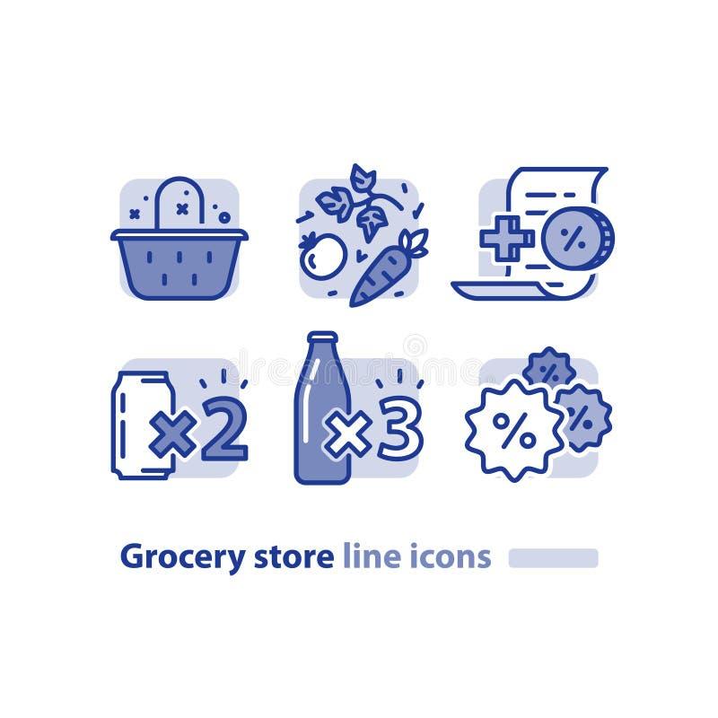A compra de alimento, cesta do mantimento, legumes frescos alinha o ícone, programa da lealdade da recompensa, bebida do disconto ilustração stock