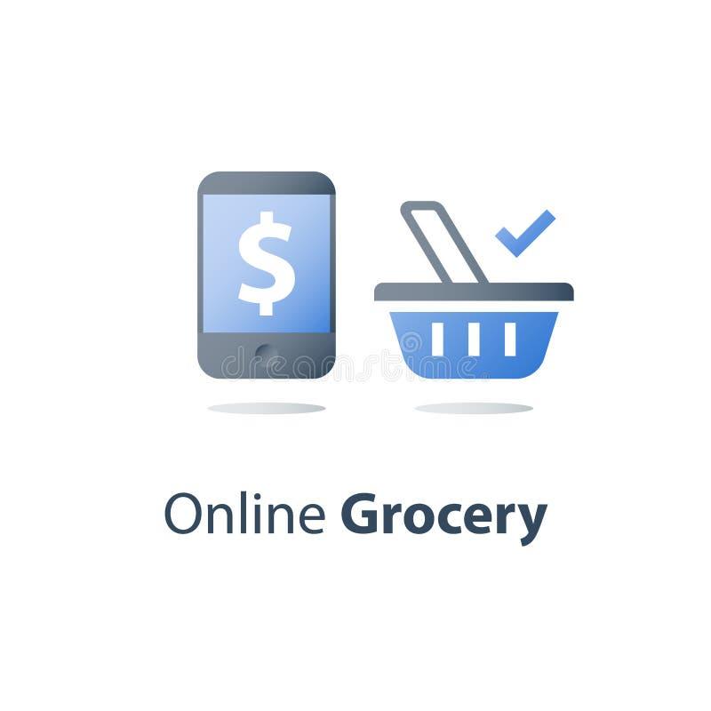 Compra de alimento e entrega em linha da ordem, símbolo da cesta do mantimento e telefone celular, sinal de dólar na tela, concei ilustração stock