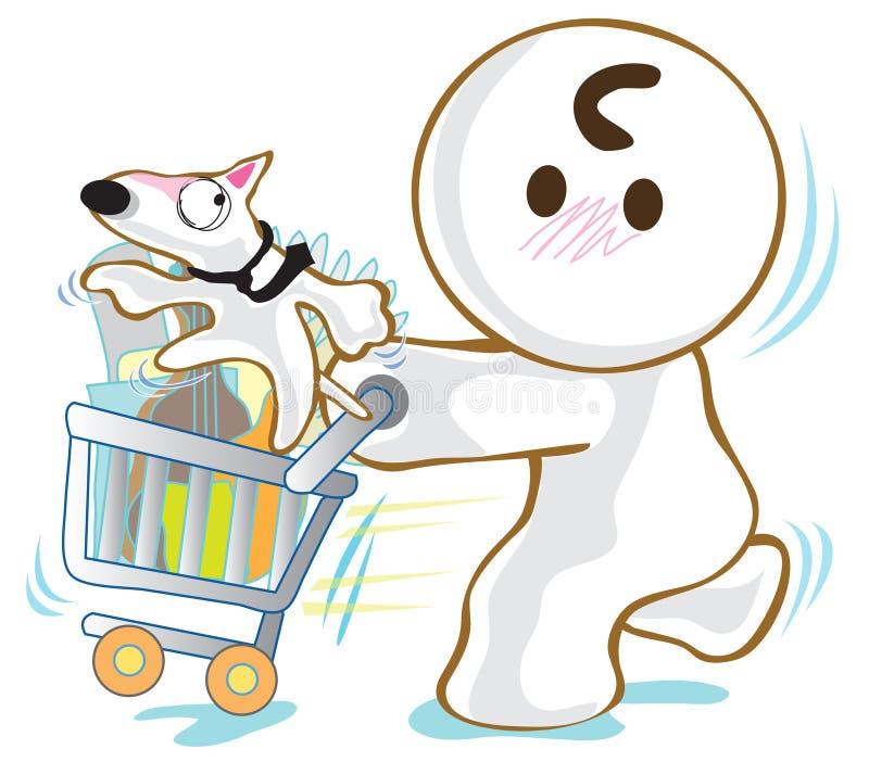 Compra de bull terrier do cão do carro da cesta ilustração royalty free