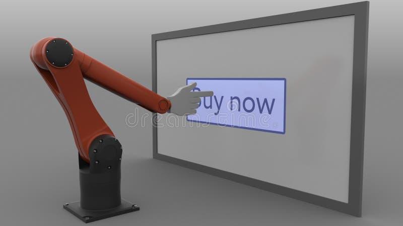 A compra de clique do braço estilizado do robô abotoa-se agora na tela Conceito em linha da loja do comércio eletrônico Cgi ilustração do vetor