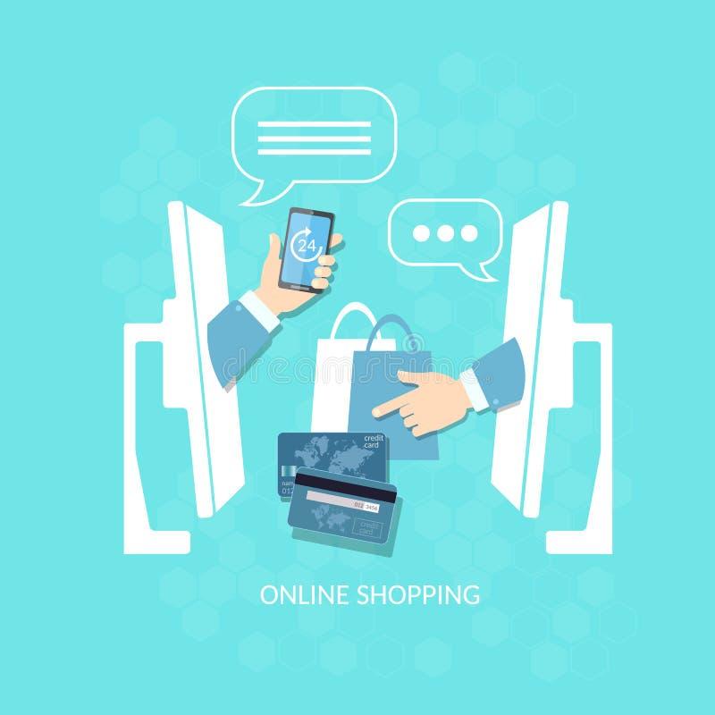 Compra de compras en línea del comercio electrónico y venta del pago de Internet ilustración del vector