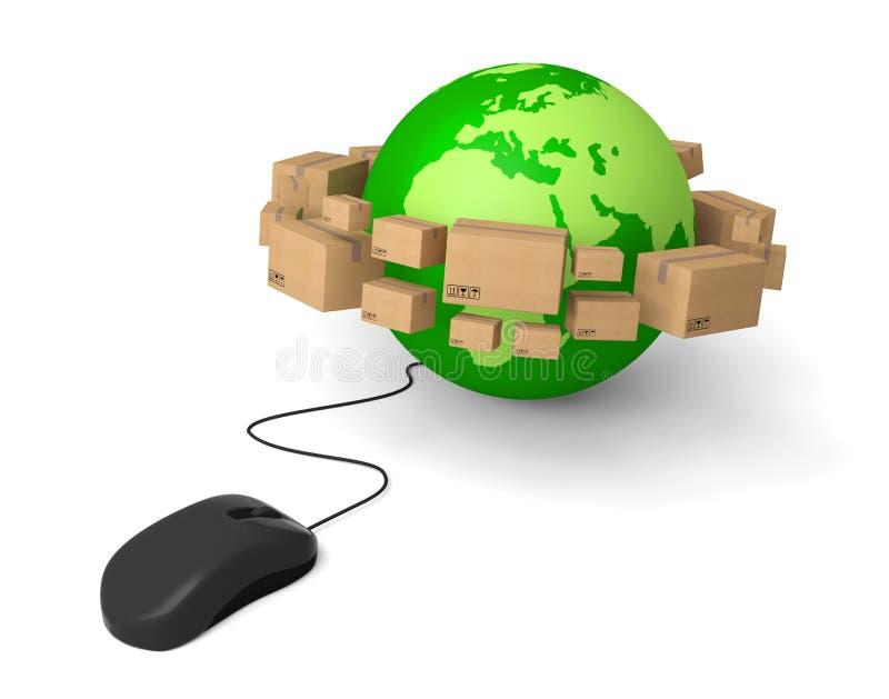 Compra de Internet con ratón y comercio electrónico en línea stock de ilustración