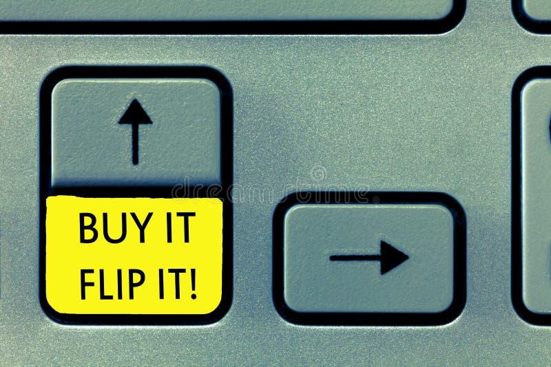 Compra de la demostración de la nota de la escritura él Flip It La compra de exhibición de la foto del negocio algo los fija enci fotos de archivo