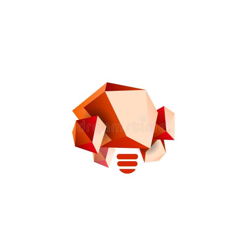 Compra de piedra, símbolo del poder de la mente Forma poligonal de la roca, minerales, plantilla del logotipo del vector de la ge stock de ilustración