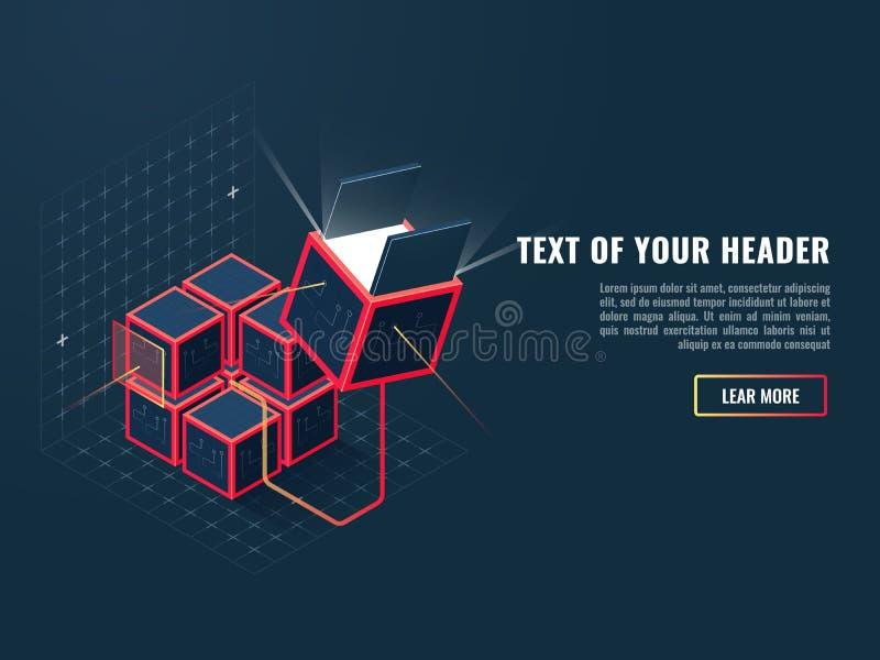 Compra del producto de programa, concepto de la instalación de la adición, el convertirse y creación del sitio web y de otros ser ilustración del vector