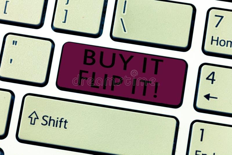 Compra del texto de la escritura de la palabra él Flip It El concepto del negocio para la compra algo los fija encima de entonces fotografía de archivo libre de regalías
