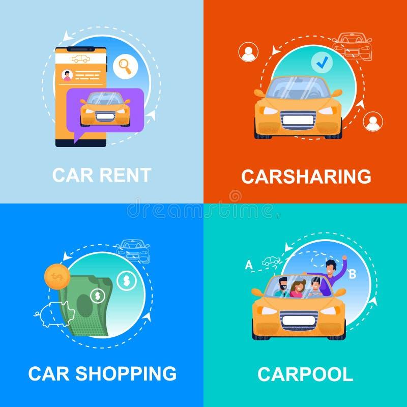 Compra do carro, aluguel, Carpool, serviço do Carsharing ilustração royalty free
