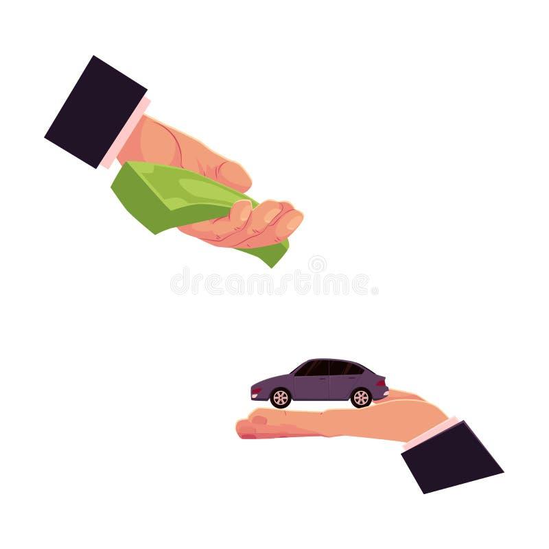 Compra do carro, arrendamento, conceito, duas mãos de doação ilustração royalty free