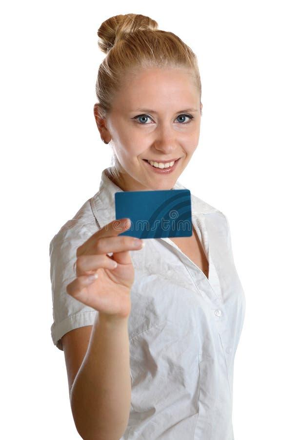 Compra do cartão de crédito do pagamento do vale da terra arrendada da mulher fotos de stock