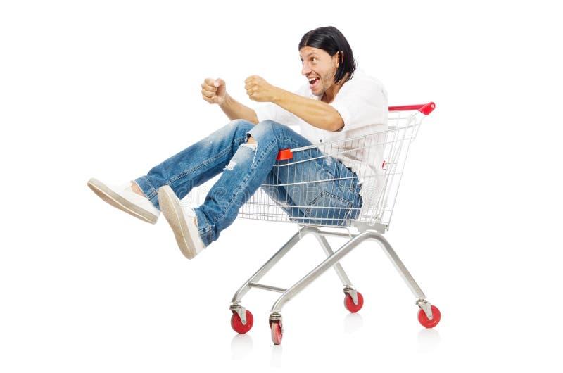 Compra do homem com o carro da cesta do supermercado isolado fotografia de stock