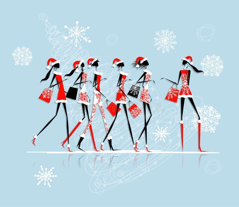 Compra do Natal, meninas de Santa com sacos ilustração stock