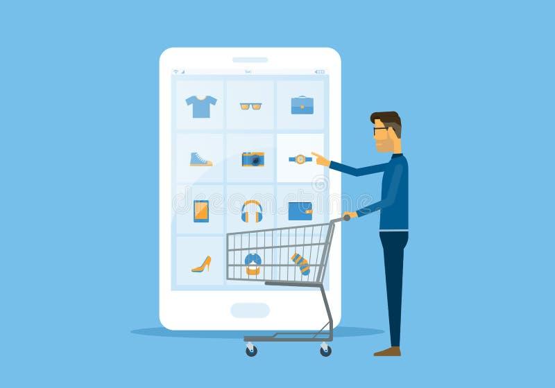 Compra do negócio liso do vetor e conceito em linha do comércio eletrónico ilustração stock