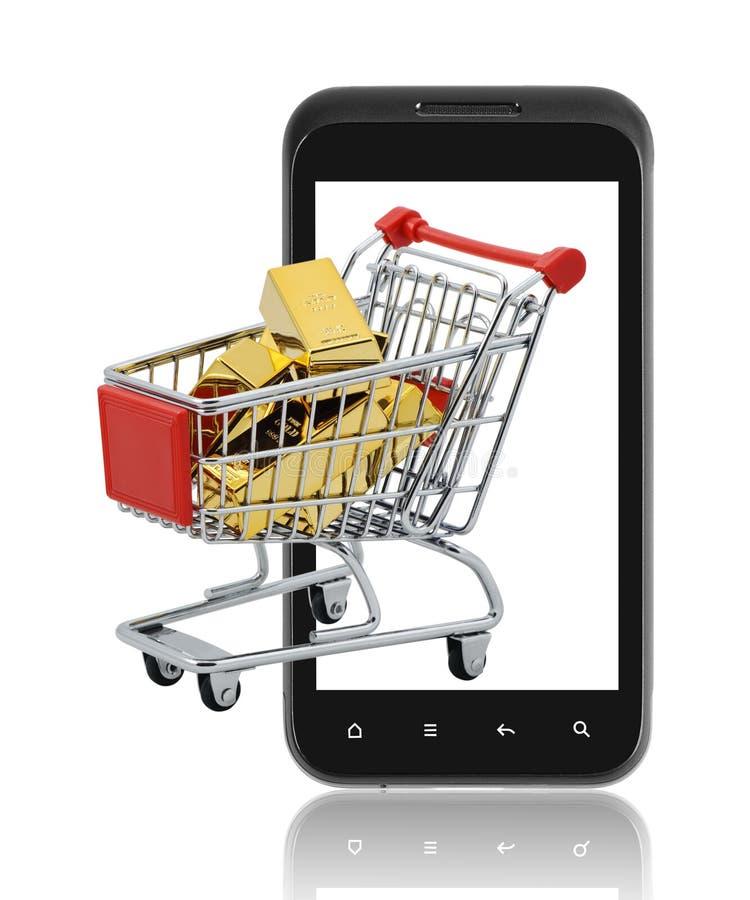 Compra do ouro no móbil. imagens de stock royalty free