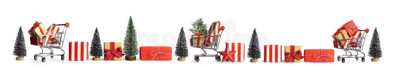 Compra do presente do Natal Bandeira do Natal fotografia de stock royalty free