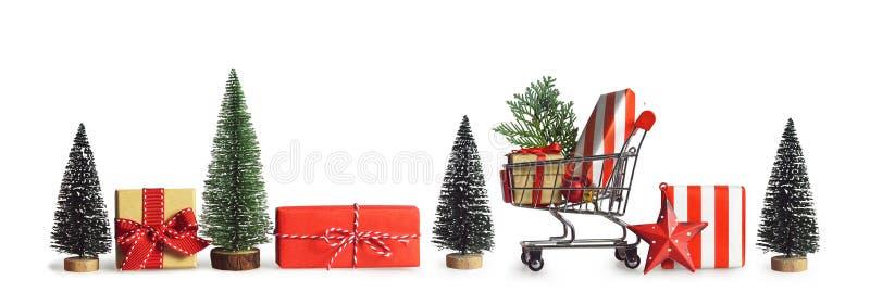 Compra do presente do Natal Bandeira do Natal imagens de stock