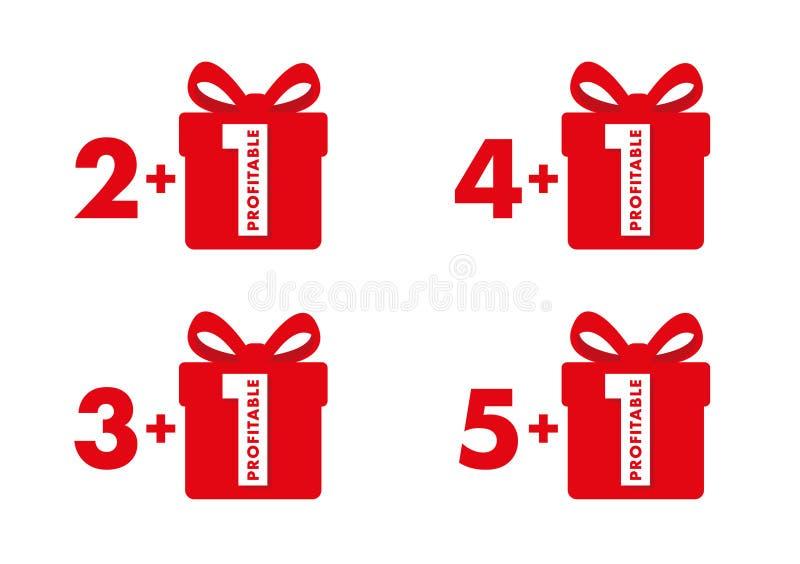 A compra dois, três, quatro ou cinco da oferta especial obtém mais um grupo livre de etiquetas com números vermelhos e caixa de p ilustração royalty free
