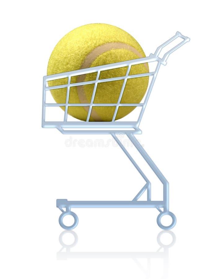 Compra dos esportes. Esfera de tênis em um carro de compra ilustração royalty free