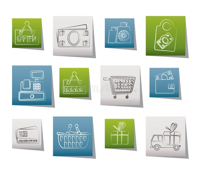 Compra e ícones de varejo ilustração royalty free
