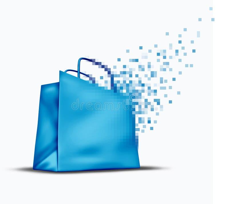 Compra e comércio electrónico em linha ilustração stock