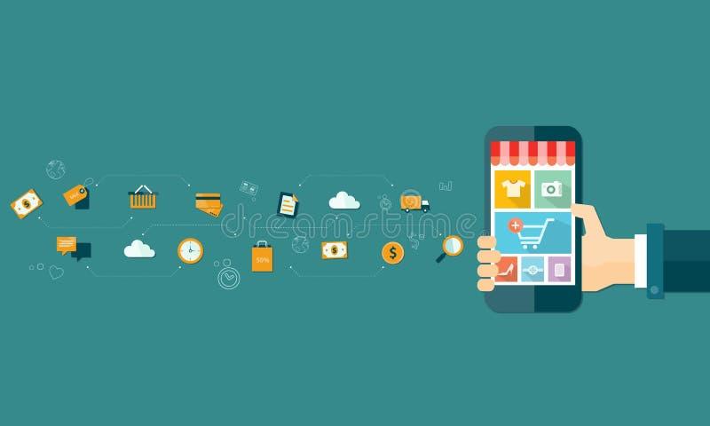 Compra e e-mercado em linha móveis do negócio no móbil ilustração do vetor