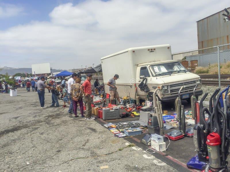 Compra e sellin na feira de trocas foto de stock royalty free