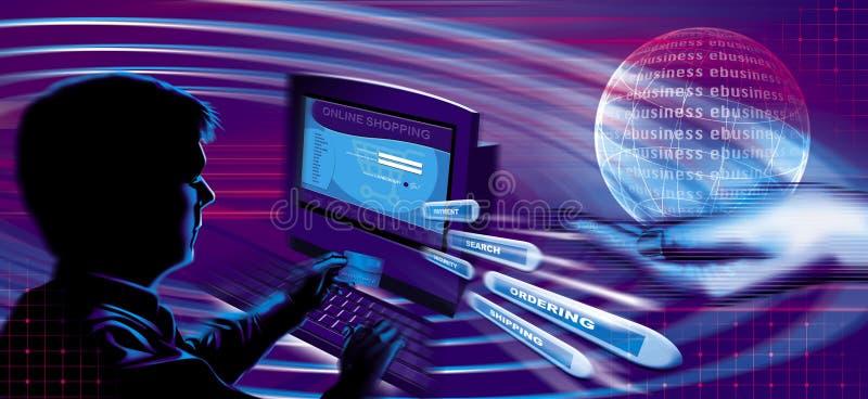 Compra e venda no Internet ilustração do vetor