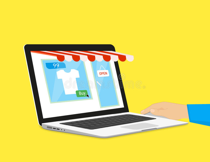 Compra em linha ilustração stock