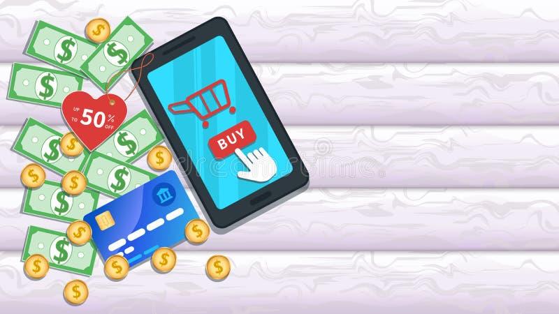 Compra em linha com app móvel Smartphone liso com 50 por cento fora no preço, ícone do carro ilustração stock
